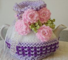 lilac and violet small 2 cup tea cosy hand by peerietreisures Crochet Cord, Crochet Motif, Crochet Flowers, Knitting Wool, Double Knitting, Hand Knitting, Vintage China, Vintage Tea, Knitted Tea Cosies