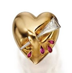 14 KARAT GOLD, DIAMOND AND RUBY 'PUFFY HEART' RING, ATTRIBUTED TO PAUL FLATO, CIRCA 1940 - Sotheby's