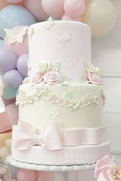 Don't miss this pretty garden party! The cake is so impressive! See more party ideas and share yours at CatchMyParty.com #catchmyparty… #partyideas #gardenparty #girlbirthdayparty #shabbychic #cake Bridal Shower Cakes, Baby Shower Cakes, Shabby Chic Cakes, Shabby Chic Birthday, Rustic Cake, Vintage Party, Holiday Cakes, Gorgeous Cakes, For Your Party