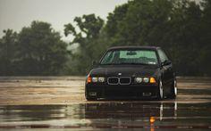 BMW m3 e36 Black Car Rain Wallpaper