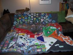 """camp blanket"" for girl scout badges!"