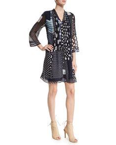 Diane von Furstenberg Layla Patched Dots Pleated Silk Dress