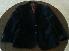 TOMMY HILFIGER Navy Solid Cotton Classic Club Blazer Sport Coat Jacket S40   $28.50