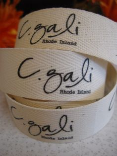 Custom Fabric Labels, three-quarter-inch twill ribbon, spool - uncut, natural or white via Etsy