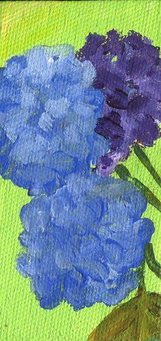 Blue Hydrangeas on lime green mini canvas by SharonFosterArt