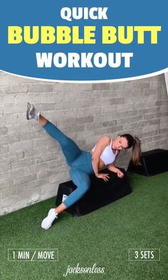 This bubble butt workout can be done anywhere. It's easy, simple, and it brings real results when done properly. So make sure to do each move for a minute, then repeat for 3 total sets. You can also use the muscle stimulator to engage your buttoc Sixpack Abs Workout, Abs Workout Routines, Workout Videos, At Home Workouts, Six Pack Abs Diet, Six Abs, 6 Pack Abs For Women, Abs Workout For Women, Personal Training Courses