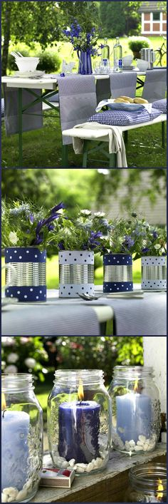 I really like these can vases and the mason jar candle holders. Decorate them with red white and blue for the or any color you like for any holiday family get together - Puck Wedding (Mason Jar And Bottle Centerpieces) Mason Jar Candle Holders, Mason Jar Candles, Mason Jar Crafts, Blue Candles, Deco Champetre, Deco Table, Decoration Table, Flower Arrangements, Red And White