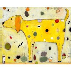 Yellow dog by Jill Mayberg. #Colorful #dots #art