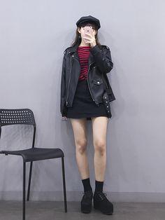 #korean, #fashion Rider Jacket with skirt