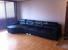 L-Shape Leather sofa - Max8028 in black