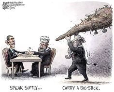 Iran Deal © Adam Zyglis,The Buffalo News,obama, president, iran, deal, nuclear, agreement, negotiations, diplomacy, gop, republicans, big stick, roosevelt, teddy, tr, war, foreign policy, middle east