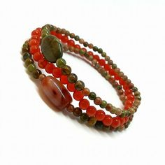 Boho unakite tourmaline jasper bracelet of three set #braceletsset #setofthree #bohobracelets #brownjewelry #orangejewelry #bohemianstyle #rusticjewelry #hippiejewelry #gypsy #beachjewelry #healingbracelet #supportpregnancy #balancejewelry #multistrand