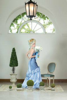 """New Jersey Bride's Spring 2014 cover spread is positively regal as we bring Marie Antoinette to the lavish landscape of Natirar in Peapack, NJ. Blue raw-silk """"Krisda"""" gown, $3,400, from Heather Royal."""