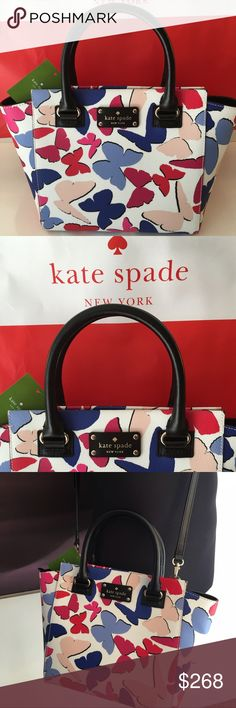 KATE SPADE NEW BUTTERFLY SHOULDER BAG 100% AUTH KATE SPADE NEW NEVER USED WITH TAGS SHOULDER/ HANDLE BAG. WHAT A LOVELY AND ELEGANT BAG .  STYLISH CHEERFUL AND PERFECT FOR ANY OCCASION. THIS BAG MEASURES 13.5 INCHES WIDE BY 9.5 INCHES TALL AND 5 INCHES DEEP. THE HANDLE HAS A 5 INCH DROP AND COMES WITH A LONG ADJUSTABLE REMOVABLE SHOULDER STRAP kate spade Bags Shoulder Bags