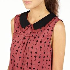 Peter pan collar. Key Print Sleeveless Blouse - Tops - Tops - Women -