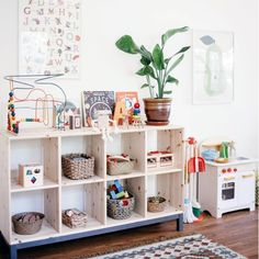 """Megan Schiller (@artpantry) on Instagram: """"I'm in love with the simplicity of this toy shelf and playroom from @calivintage We usually do a…"""""""