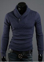 $11.99 Korean Style Polo Collar Solid Color Button Embellished Long Sleeves Cotton Blend Sweater For Men