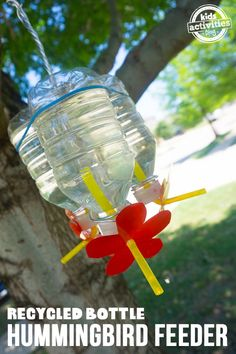 Teach kids the importance of recycling and spending time outdoors this summer by building a recycled bottle hummingbird feeder. As a kid, I loved spending time at my grandma's house. Her backyard was Diy Bird Feeder, Humming Bird Feeders, How To Attract Birds, How To Attract Hummingbirds, Attracting Hummingbirds, Kindergarten Activities, Activities For Kids, Preschool, Nature Activities