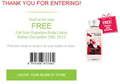 Bath and Body Works Canada - FREE Full Size Signature Body Lotion