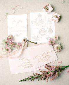 Light rose wedding stationary