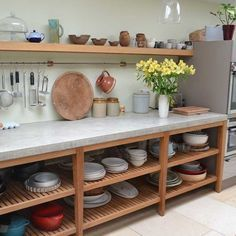 Via Arnold's Kitchens in U.K.--Large cast in situ one piece polished concrete worktop