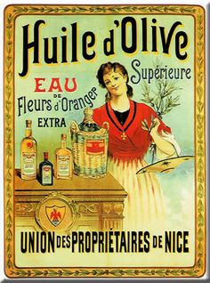 French Huile D'Olive Olive Oil de Nice Metal Sign Plaque
