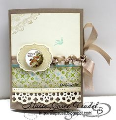 A La Pause: Patron Carte Tunnel Marie-Josée Trudel Stampin Up Art Floral Apothecary Art