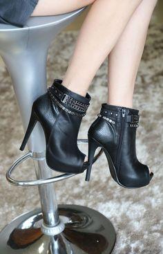 open boots - salto alto - preto - black - heels - correntes - dourado - Inverno 2015 - Ref. 15-4203