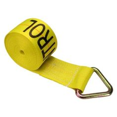 """4"""" x 27' Winch Straps with D-Ring - Yellow. Length = 27'. Width = 4"""". Winch bars and truck winches are used to make this a complete flatbed tie down system. This superior strap is in stock and ready to deliver. This 4 inch by 27 foot winch strap with D-Ring is made from high quality yellow webbing that will tie down your load securely with any standard 4"""" winch. Industrial grade polyester webbing is weather resistant and will not stretch over time! Color : Yellow."""