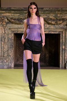 Lavender hand draped French tulle corset with side train detail  Black wool cuffed camp short