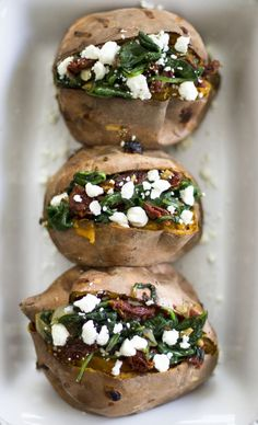 Substitute out the goat cheese for avacados to make them dairy free. Spinach, Sun-Dried Tomato, and Goat Cheese Stuffed Sweet Potatoes: My Diary of Us Veggie Dishes, Veggie Recipes, Vegetarian Recipes, Cooking Recipes, Healthy Recipes, Snacks Recipes, Healthy Tips, Zone Recipes, Healthy Food Blogs
