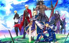 Scarica sfondi 4k, Sciabola, Arciere, Shirou Emiya, Lancer, Gilgamesh, manga, personaggi, fate Stay night, TYPE-MOON
