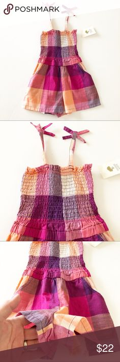 NWT! Tucker + Tate Romper Brand new! Pink, orange and purple. Has pockets Tucker + Tate One Pieces