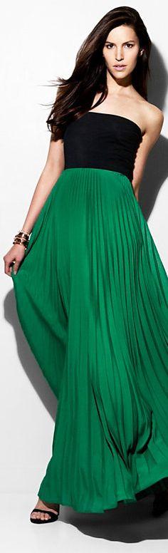 Alexis Bittar Pleated Combo Maxi Dress