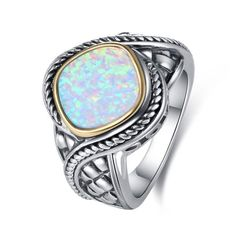 Brighten your day with this stunning ring bejeweled with sparkling Fire Opalcenter. Rhodium plated Lab Created Oxidized Opal Stone treatment: Lab-created Band width: Full dimensions: x Brighton Rings, Brighton Jewelry, Bali Jewelry, Jewelry Rings, Opal Rings, Gemstone Rings, Statement Rings, Custom Jewelry, Diamond Cuts
