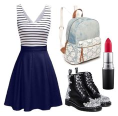 """Back 2 school"" by lea0212-1 on Polyvore featuring Dress the Population, MAC Cosmetics and Red Camel"