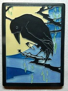 """Motawi Art Tile Ceramic Pottery 6"""" X 8"""" Raven Yoshiko Yamamoto.  I have this tile, I bought it at Luna in Long Beach and I love it!"""
