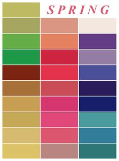 The Spring Colour Palette.perfect for a Light Spring, Warm Spring, and Clear Spring. Color Type, Colour Board, Type 1, Winter Colors, Spring Colors, Color Combinations, Color Schemes, Skin Color Chart, Spring Color Palette