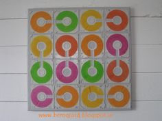 Repurposed floppy disks wall art from Hemgjord