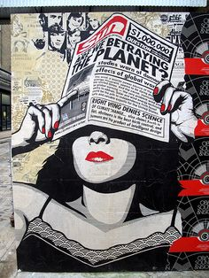"""Are we betraying the planet?"" - global warming street art by Shepard Fairey in Shoreditch, London. Photo by duncan c. #ObeyGiant"