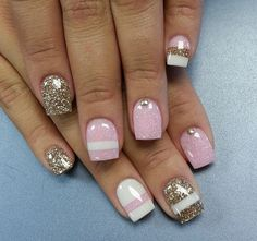 Pink and white and sparkly nails