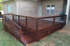 deck with wheelchair ramp Ramp Design, Deck Design, House Design, Porch With Ramp, Wooden Ramp, Wheelchair Ramp, Front Deck, Front Porch, Deck Stairs
