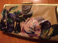 Beautiful Patricia Nash Floral Beige Leather 18 kt Gold Gild Clutch HandBag  #PatriciaNash #Clutch