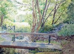 Forest Watercolor - Bridge, Fence, Path, Sunlight - Original Watercolor Painting - 12 x 16 inches Matted to 16 x 20 inches