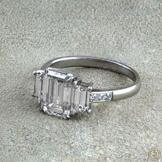 Vintage Emerald Cut Diamond Engagement Ring by EstateDiamondJewelry on Etsy, $32,000.00 #Engagement #Ring