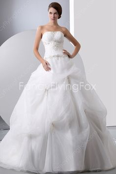 Stunning White Organza Strapless Ball Gown Floor Length Bridal Gowns With Embroidery at fancyflyingfox.com