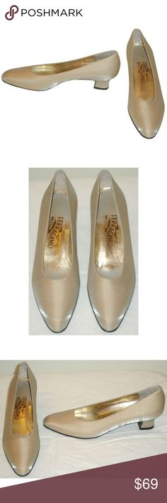 """Worn Once Shimmery Silk Pumps 8.5 AAAA Narrow Classic mid heel pumps from Salvatore Ferragamo in a silvery beige silk. These feature a rounded toe and 1.75"""" high covered heel. Leather lining, sole and insole. In excellent condition, worn one time only, size 8.5 AAAA extra narrow. Salvatore Ferragamo Shoes Heels"""