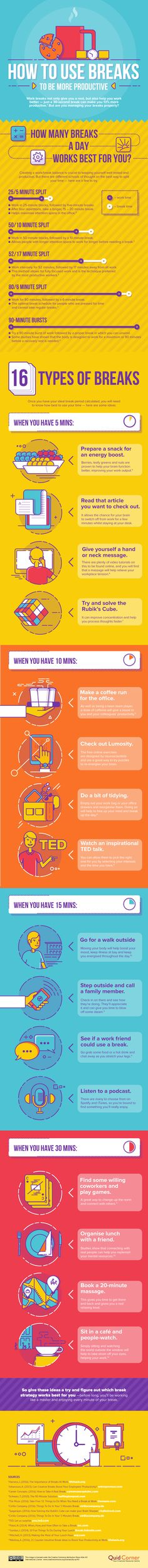 How to Use Breaks to Be More Productive Infographic - http://elearninginfographics.com/how-to-use-breaks-to-be-more-productive-infographic/ #businesscollege