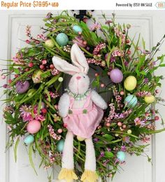 EASTER WREATH SALE Spring Wreath - Easter Wreath - Easter Bunny Decor - Bunny Wreath - Easter Egg Wreath - Fireplace Wreath - Easter Decor -