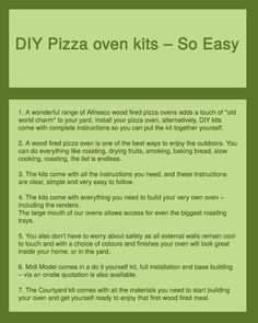 Pizza prepared in your wood fired pizza oven tastes so delicious pizza ovens are provided with do it yourself kits the kit consists of instruction manual solutioingenieria Image collections